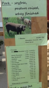 A listing of available pork offerings from Brookford Farm