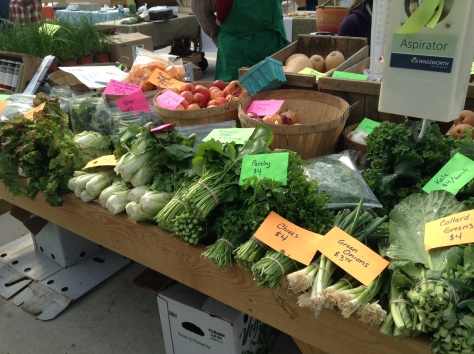 The Arrowhead Farm booth, bursting with produce
